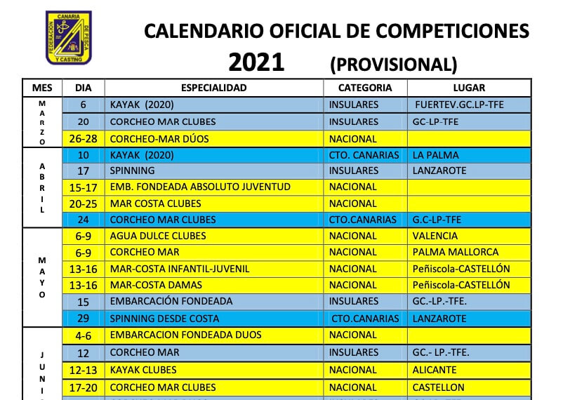 Añadido el nuevo calendario provisional de las competiciones para el año 2021